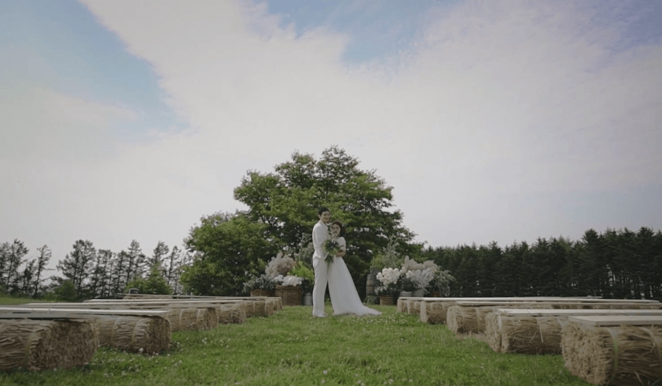 草原に立つウエディング姿のカップル